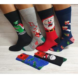 MS1259. Мужские новогодние, высокие, хлопковые носки, Ekmen.