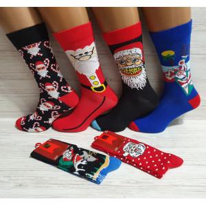 MS1258. Мужские новогодние, высокие, хлопковые носки с лайкрой, Ekmen.