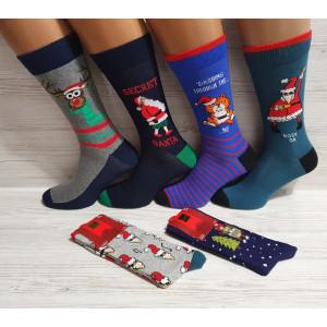 MS1257. Мужские новогодние, высокие, хлопковые носки с лайкрой,  Ekmen.