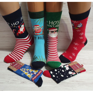 MS1256. Мужские новогодние, высокие, хлопковые носки с лайкрой,  Ekmen.