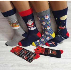 MS1255. Мужские новогодние, высокие, хлопковые носки с лайкрой, Ekmen.