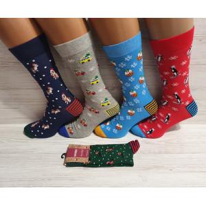 MS1254. Мужские новогодние, высокие, хлопковые носки с лайкрой, Ekmen.
