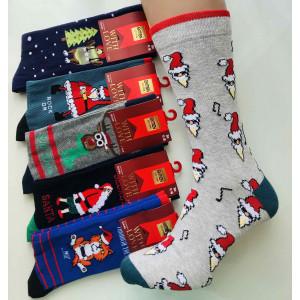 MS1250. Мужские новогодние, высокие, хлопковые носки, Ekmen.