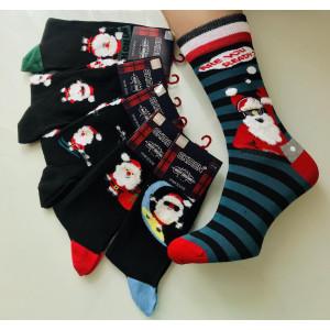 MS1249. Мужские новогодние, высокие, хлопковые носки с лайкрой, Ekmen.