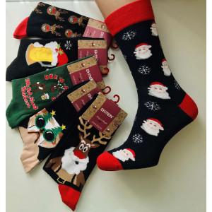 MS1251. Мужские новогодние, высокие, хлопковые носки с лайкрой. Ekmen.