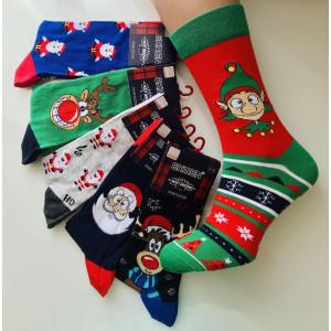MS1252. Мужские новогодние, высокие, хлопковые носки с лайкрой,  Ekmen.