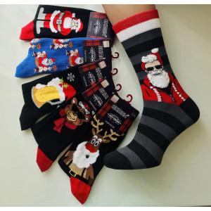 MS1253. Мужские новогодние, высокие, хлопковые носки с лайкрой, Ekmen.