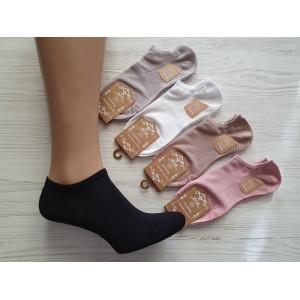 WS1053. Женские короткие, хлопковые носки с тормозами, Золото.