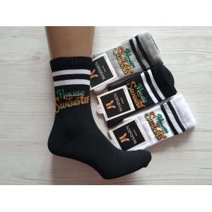 WS1013. Подростковые высокие, хлопковые носки с принтами, Warmen.