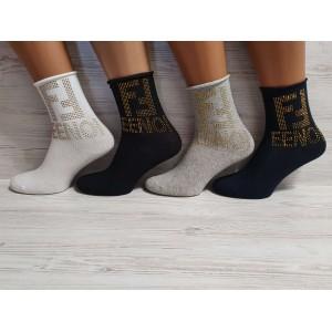 WS1009. Женские высокие, хлопковые носки с камнями, Fasihion
