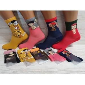 WS1011.  Женские высокие, хлопковые носки с принтами, Pier Lone