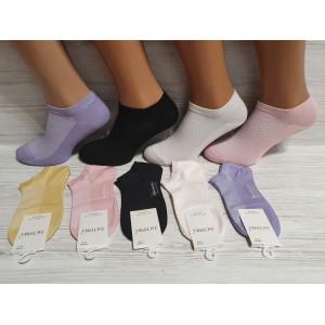 WS1019. Женские короткие, хлопковые носки с сеткой, Ласточка.