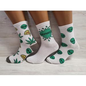 WS1153. Подростковые высокие, хлопковые носки с принтами, Flex.
