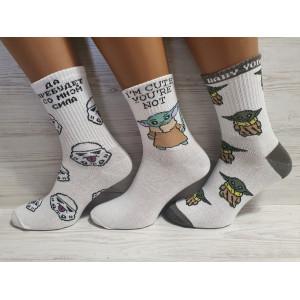 WS1155. Подростковые хлопковые, высокие носки с принтами, звездные войны, Flex.