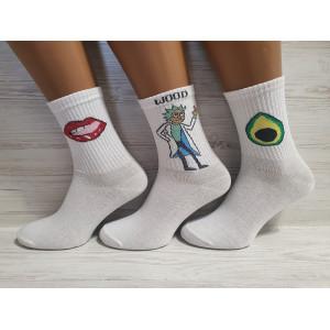 WS1154. Подростковые высокие, хлопковые носки принтами, доктор Рик, Flex.