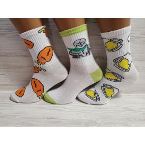 WS1156. Подростковые высокие, белые носки с принтами, Flax.