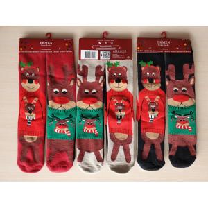 WS1242. Женские новогодние, махровые, высокие носки, Ekmen.