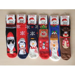 WS1246. Женские новогодние, высокие, махровые носки, Ekmen.